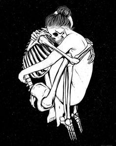"skull-heads: ""Over my dead body. Skeleton Love, Skeleton Art, Skeleton Tattoos, Beautiful Dark Art, Dark Drawings, Figure Sketching, Danse Macabre, Skull Fashion, Soul Art"