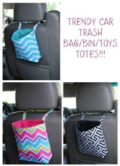 Trendy Car Trash Bag off 2 days only - A Thrifty Mom - Recipes, Crafts, DIY and more - Getting some before summer road trips start! Organization ideas for the home, car trash bags, TRENDY - Easy Sewing Projects, Sewing Projects For Beginners, Sewing Hacks, Sewing Tutorials, Sewing Crafts, Sewing Tips, Car Crafts, Bags Sewing, Dress Tutorials