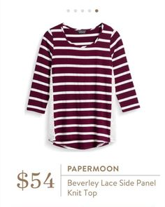 Stitch Fix: Papermoon Beverley Lace Side Panel Knit Top - Burgundy stripes + lace, this is so fall.