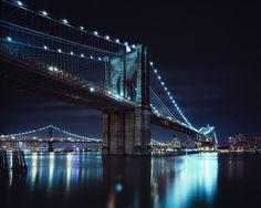 brooklyn bridge at night, nyc, via Flickr.