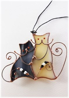 "Stained glass interior colored bright pendant ""Cats"""