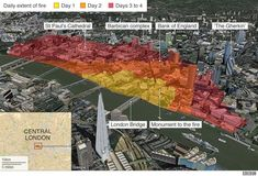 London's fire changed the entire city but this image shows how the fire continued and spread across and shows the vulnerable locations