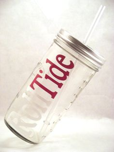 Alabama Roll Tide Mason Jar Tumbler with Reusable BPA Free Straw on Etsy, $14.00