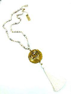 Sautoir Pendentif Jade - Agate Folle Blanche AUM Creation Bijoux