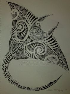 zentangle fish   Polynesian Manta Ray by ~Tangaroa15 on deviantART
