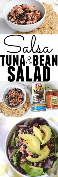 Only three ingredients and three minutes of prep time for a high protein, incredibly filling meal or snack. Pantry staples are one of the keys to making inexpensive meals in a jiffy, and this healthy recipe for Salsa Tuna and Bean Salad uses just canned ingredients (but tastes delicious!). It is gluten free, dairy free, egg free, and soy free