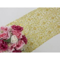 Sequin Studded Lace Table Runners - Gold