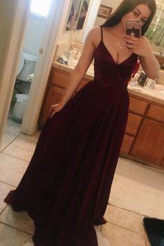 V Neck Spaghetti Straps Long Prom Dresses, Floor Length Formal Dress