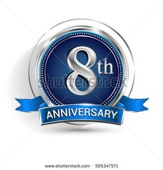 Celebrating 8th anniversary logo, with silver ring and ribbon isolated on white background.