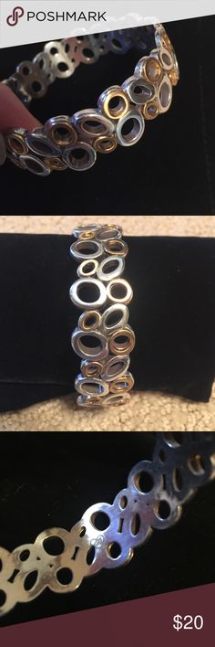 Brighton Bracelet Cute bangle style w/ gold and silver design. From Brighton! Brighton Jewelry Bracelets