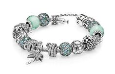 Tropical Delights in this PANDORA bracelet featuring charms from the Summer 2015 collection and seafoam green hues.