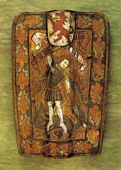 A German cavalry pavise featuring St. George, circa 1470-1490. 63 cm. Musée de l'Armée, Paris.
