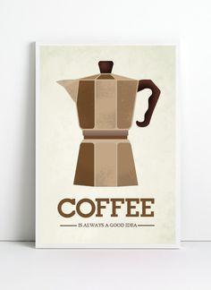 Kitchen art Print, A3, Coffee art prin,  retro poster,  mid century modern art poster,  Coffee art, retro prints. $19.99, via Etsy.