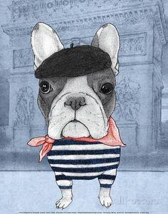 French Bulldog with Arc de Triomphe Stampe di Barruf su AllPosters.it