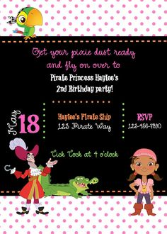 Custom Izzy Pirate Princess Birthday Invite by ckfireboots on Etsy, $10.00