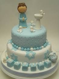 Resultado de imagem para tortas de bautizo para varon