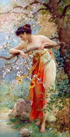 Art painting Hans Zatzka, Spring Beauty , i love this artist beautiful painting . Illustration Art, Illustrations, Pre Raphaelite, Victorian Art, Oil Painting Reproductions, Art Moderne, Classical Art, Fine Art, Beautiful Paintings