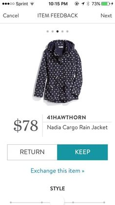 This is such a cute raincoat--love that it is different and fun! 41 Hawthorn Nadia Cargo Rain Jacket Polka Dot Navy Stitch Fix