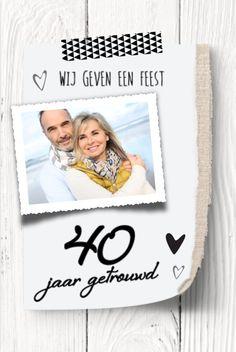 lovz | uitnodiging 40 jaar getrouwd foto, hout en jutte