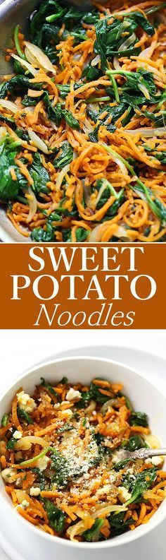 Delicious adaptable vegetarian recipe with sweet potato noodles spinach onions and a sprinkle of cheese. Zoodle Recipes, Spiralizer Recipes, Spinach Recipes, Healthy Recipes, Vegetable Recipes, Whole Food Recipes, Vegetarian Recipes, Cooking Recipes, Yummy Recipes