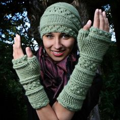 Velutinous Lace - Crochet Cap & Wristlets...I really don't need a new project but this looks pretty fun