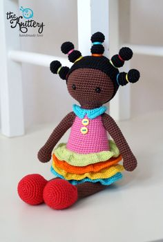 Crochet doll with braids dress and shoes / Crochet toy /