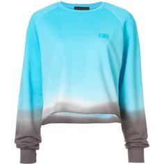 Baja East tie-dye sweatshirt ($680) ❤ liked on Polyvore featuring tops, hoodies, sweatshirts, blue, cropped sweatshirt, blue sweatshirt, tie-dye crop tops, tie dyed sweatshirts and round neck crop top