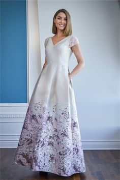 K228062X Mikado Dress with Hand Beaded Tulle Cap Sleeve and A line Skirt with Pockets Mob Dresses, Satin Dresses, Mother Of The Bride Dresses Vintage, Jade Couture, Jasmine Bridal, Bride Sister, Bride Groom Dress, Skirts With Pockets, Wedding Attire