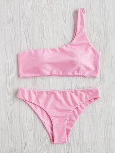 One Shoulder Bikini Set Monokini Swimsuits, Cute Swimsuits, Women Swimsuits, Vintage Swimsuits, Bikini Swimwear, Bikini Sexy, Red Bikini, Floral One Piece Swimsuit, Two Piece Bikini