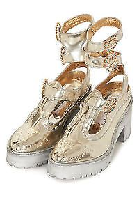 Meadham Kirchhoff for TOPSHOP Chunky Gold Ankle Trap Brogue