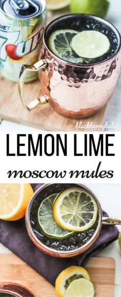 Lemon Lime Moscow Mules - 7UP is so versatile you can use it in fun punch recipes, cocktails and even in baking and marinade recipes! Find your inspiration and check out how you can enter to win $1,000 with 7UP  #ad