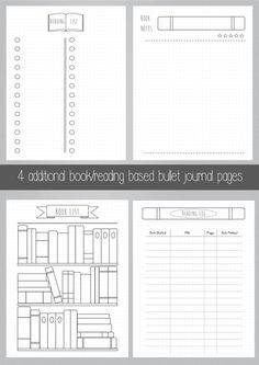 Extra Bullet Journal Pages Book Reading A5 por ScatteredPapers1
