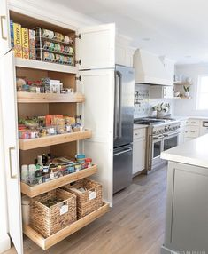 pantry organization ideas I'm all about a good pantry purge so when the ladies from Project Design (Cindy from Rough Luxe Lifestyle, MaryAnn from Classic Casual Home, & Annie from Most Lovely Things) asked me to join them to share pantry Kitchen Pantry Design, Kitchen Pantry Cabinets, Kitchen Organization Pantry, Kitchen Interior, Organization Ideas, Pantry Ideas, Organized Kitchen, Kitchen With Pantry, Small Pantry Cabinet