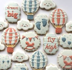 Hot air balloon cookies & cloud cookies