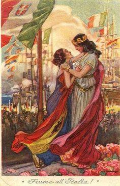 Rijeka - - plakat - Fiume all Italia Kingdom Of Italy, Trieste, Empire Style, World War I, Wwi, Croatia, Mythology, Renaissance, Fantasy