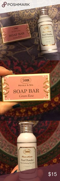 "Brand new Sabon facial products Brand new sabon small ""green rose"" soap bar and an exfoliating facial scrub (pearl powder) Other"