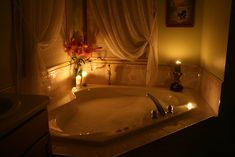 Pamper yourself with a bubble bath, candles, relaxing music and a glass of wine or champagne