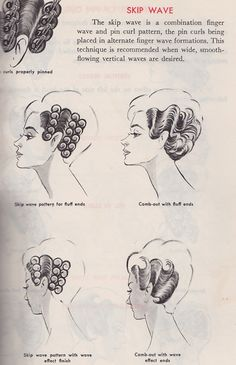 "Combination finger waves and pin curls. Notice that the ""wave effect"" finish has last pincurls facing downward or backwards."