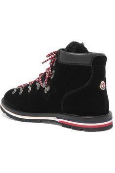 Moncler - Blanche Shearling-lined Velvet Ankle Boots - Black