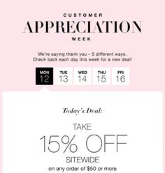 Did you know it's Customer Appreciation Week at Avon? There will be a new offer each day this week! Register your information at www.youravon.com/wwicklund to receive each days offer and to shop with me!  Today's Savings Code: DAY1  #customerappreciation  #loveavon #thankyou