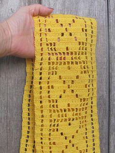 Small Table Runner x Crochet Narrow Runner; Cotton Crochet Easter Table Topper - Vintage Crochet Table Runner Small Table Runner x Crochet Quilt, Crochet Trim, Filet Crochet, Crochet Motif, Crochet Shawl, Crochet Doilies, Hand Crochet, Crochet Stitches, Crochet Flower Patterns