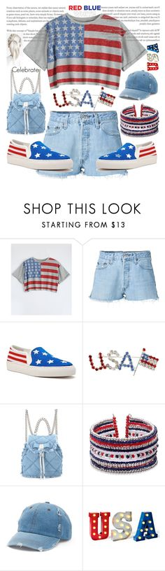 """It's USA day ⭐💙⭐"" by she-fashionlove ❤ liked on Polyvore featuring RE/DONE, Salvatore Ferragamo and Mudd"