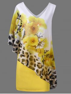 Floral and Leopard V Neck Capelet Dress - YELLOW L