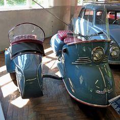 Maicomobil, Baujahr 1953, Motor mit 174ccm und 8,5PS, Vmax.85Km/h, mit Steib-Seitenwagen, war damals der weltweit größte Hersteller von Seitenwägen mit 10.000 Stück jährlich, Automuseum Schramberg, Mai 2012
