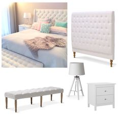 Chesterfield is a classic style but it often comes with a hefty price tag. Recreate this gorgeous bedroom with a few affordable pieces from Black Mango Charlotte Chesterfield Queen bedhead in White - $399 Juliet Dressing Bench in white - $279 Tripod Table Lamp - $65 and complete with the Hayman 2 Drawer bedside table from Fantastic Furniture - $129