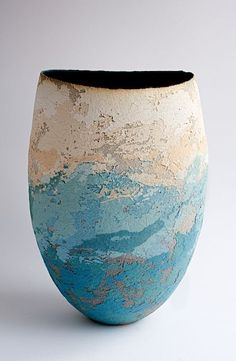 Clare Conrad Stoneware Vessel - ht 28 cm. The broken surface bridges between clay and painting.