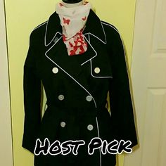 "CHAPS black rain coat Host Pick 7/15 ""Total Trebdsetter Party"" Chaps black with white piping rain coat with belt.  Light weight.  Never worn.  Beautiful with simple elegance. Chaps Jackets & Coats"