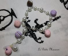 $10.00 Sweet Lolita Pearl and Macaron Bracelet 14 Pink and Lavender with Chocolate