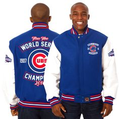 Chicago Cubs JH Design 2016 World Series Champions Domestic Two-Tone Wool Leather Jacket - Royal/White - $479.99