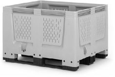 The Big Boxes with ventilation slots are used for example as boxes for the harvest or for the storage of fruits and vegetables. They are made of robust, scratch-resistant plastic material. Smooth inner and outer walls ensure easy cleaning.    Standardized dimensions (ISO 1,200 x 1,000 mm) ensure smooth operation in storage and transport processes.    Also stackable with lid  Superimposed load 4 tonnes  availabe with feet, skids or wheels    Price : £130.00    Weight : 39.00 kg